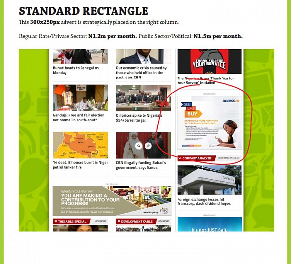 Advertising with TheCable Standard Rectangle (Public Sector/Political)